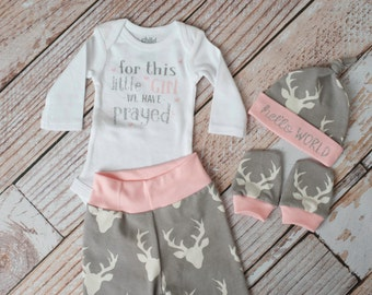 Baby Deer Antlers/Horns Pants, Hat, Scratch Mitts Set with Grey and Pink + For This Girl We Have Prayed Bodysuit Newborn Coming Home