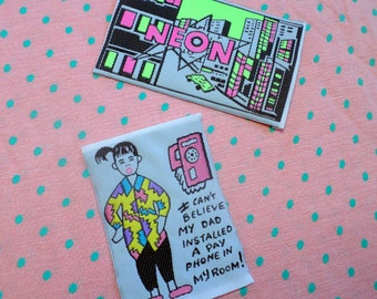 So kitsch! 80's pop VINTAGE woven patch - set of 2
