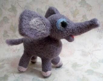 Needle Felt Elephant, Handmade Elephant, Elephant Figure