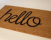 Hello - handwritten doormat (size opts)