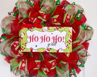Adorable Santa Ho Ho Ho  Y'all Christmas Wreath Handmade Deco Mesh