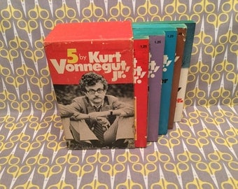 5 by Kurt Vonnegut Jr. Cat's Cradle Sirens of Titan Welcome to the Monkey House Breakfast of Champions Rare 5 Book Boxed Set