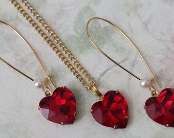 Ruby Red Crystal Hearts Jewelry, Swarovski Crystal Hearts, Red Heart Pendant Necklace, Red Heart Earrings, Jewelry Valentine's Jewelry Set