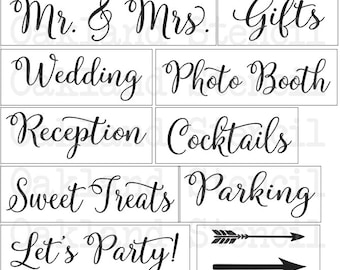 Wedding STENCIL Set****Buy one, 5 or all 10** for Painting Signs Wood Fabric Canvas Anniversary Welcome Airbrush Crafts Walls Gifts