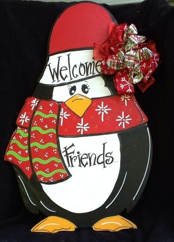 Penguin door hanger christmas sign