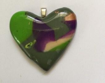Polymer clay pendant, polymer clay, mokume gane, mokume gane pendant, mokume gane necklace, polymer clay heart, mokume gane heart, OOAK