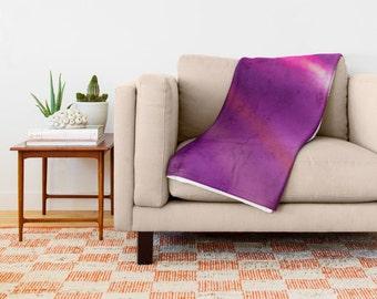 Purple Throw Blanket, Soft Throw Blanket, Hot Pink Fleece Blanket, Soft Blanket, Sherpa Blanket, Coverlet, Dorm Decor, Urban Photography