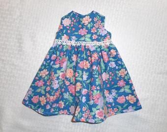 """Doll dress, Waldorf doll dress, doll clothes, 12"""" 16"""" 20"""" doll clothes, doll outfit, 100% cotton doll dress, blue doll dress."""