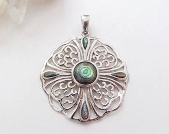 Abalone Pendant, Sterling Silver Pendant, Vintage Jewelry, Abalone Jewelry, Paua Shell Jewelry, Paua Shell Pendant, Sterling Silver Jewelry