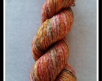 Autumn Leaves - 75% SW Merino 20 Nylon 5 Silver Stellina Sparkle Sock Blank