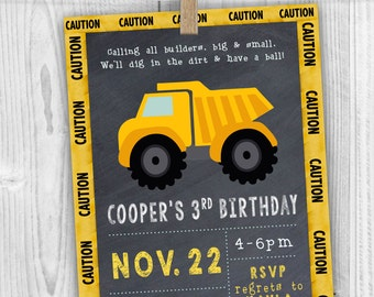 Dump Truck Birthday Invite - Digital File ONLY