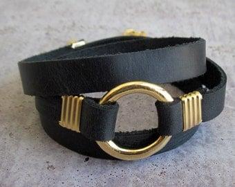 Wrap Bracelet - Leather Bracelet - Black Bracelet - Statement Bracelet - Leather Wrap Bracelet - Geometric Bracelet - Black And Gold