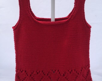 Cotton Baby Vest or Singlet - red with heart motifs - 3 months