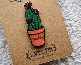 Prickly is Perfect Cactus Lapel Pin