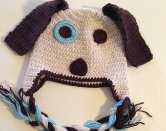 Brown Dog Crochet Kids Hat