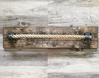 Rustic/industrial Handmade Pipe/Natural Rope Towel Holder with Wood