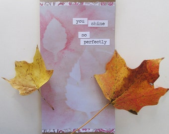 Handmade card, thank you, friendship, encouragement, lavender and kraft paper with birch leaves