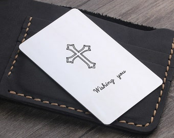 Personalized Wallet Insert Card - Valentine's Day Gift for Men - Cross Wallet Card - Cuatom Made Metal Card