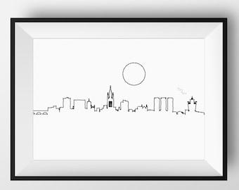 Aberdeen Skyline, Aberdeen art, Aberdeen print, Aberdeen poster, Aberdeen, Aberdeen Scotland, skyline, Aberdeen artwork, Aberdeen city art
