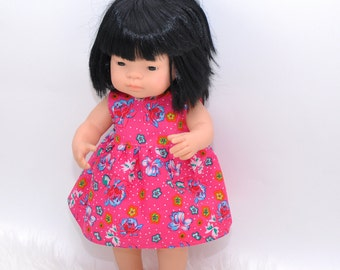 Dress for Miniland doll, 16 inches dress, pink and floral dress, cotton dress, Miniland Doll outfit