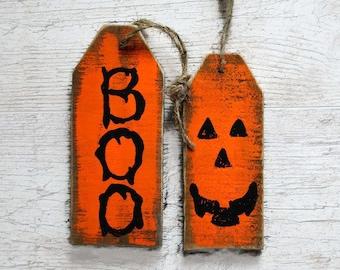 Boo Halloween signs Halloween door sign pumpkin decoration Halloween party decor Boo door hanger primitive wood sign Halloween tags
