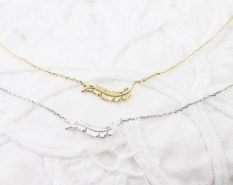 Tiny Sideways Leaf Charm Necklace Bridesmaid Gift Bridesmaid Necklace Birthday Gift Dainty and Delicate Everyday Jewelry