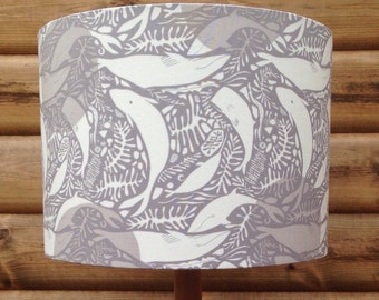 Whales in Grey- Natural History Collection Lampshade