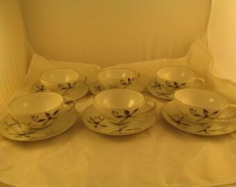 Reduced Price Set 6 Tea Cup & Saucer Fukagawa Arita China #745 Gray Black Silver Leaves