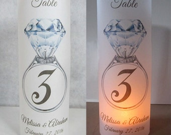 12 Personalized Wedding Anniversary Diamond Ring Table Number Centerpiece Decoration Luminaries