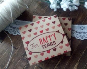 20 Tears of Joy Tissue Packs, Wedding Tissues, for tears of joy, happy Tears Packs, Red Hearts Design,Customized tissue packs