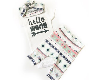 Baby girl coming home outfit READY TO SHIP Pink Mint Charcoal theme hello world baby shower gift new baby set going home hospital outfit