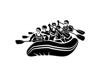 White Water Rafting Group - Di Cut Decal - Home/Laptop/Computer/Phone/Car Bumper Sticker Decal
