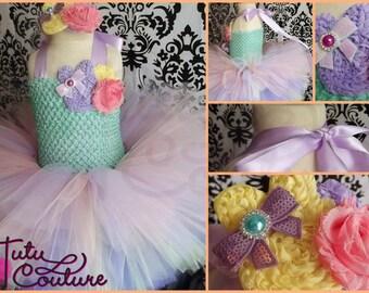 Easter tutu dress/easter dress/shabby tutu dress/flower dress/pastel easter dress/ mint and lavender easter dress