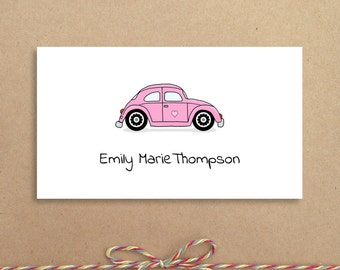 Pink Love Bug Calling Cards - Love Bug Gift Card - Personalized Calling Cards - Children's Calling Cards - Custom Calling Cards