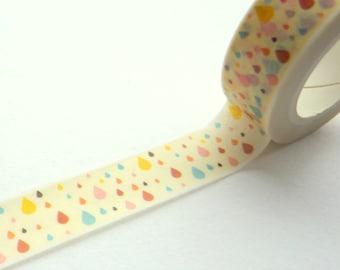 Colorfoul Raindrops Watercolour Effect Washi Tape 15mm x 10m