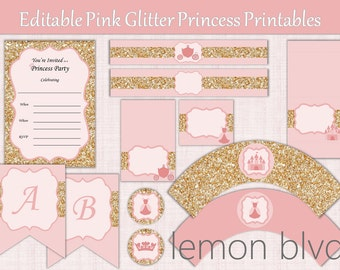 Editable Glitter Princess Party Printables Package | Pink Princess Party | Editable Instant Digital Download | Glitter Princess Party