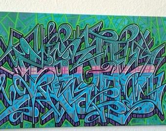 sick 1 graffiti art canvas painting 12x24in