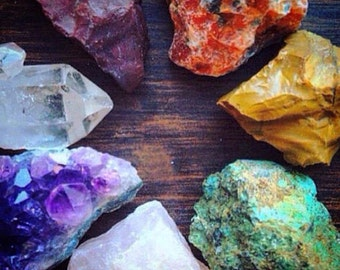 Chakra Healing Crystals and Stones Chakra Stones Rough Crystal Collection Bohemian Decor Raw Amethyst Crystal Healing Natural Crystals Set