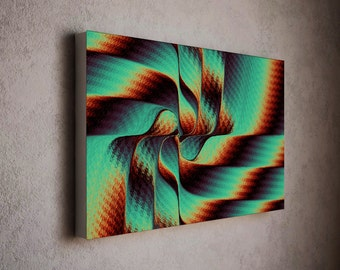 Swirly canvas art print - modern red and green wall art decor - spin art / modern art - art print - modern art canvas