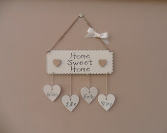 Housewarming gift. Personalised Home Sweet Home Plaque. New home sign. Mother's Day, Family plaque