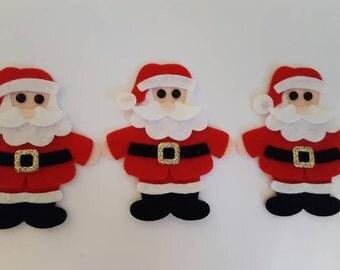 x3 Felt Santa  Embellishments. Christmas die cuts. Christmas crafts.Christmas card making.Christmas decorations.christmas shapes.free p&p