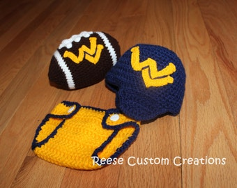 Crochet Newborn West Virginia Mountaineers inspired colors hat, diaper cover, and football Photo Prop Outfit. 3 - 4 Week Lead Time