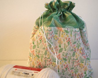 "Knitting Project Bag, EXTRA LARGE, original Spring Garden fabric design, drawstring, 14""x 14""x 5"", for large knitting and crochet projects."