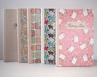 """Knitting or Crochet Notebook, customizable, handmade, 8"""" x 5.25"""". 6 different yarn themed cover patterns. Sketch or graph paper pages."""