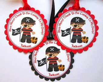 Pirate Party Gift Tags, Pirate Gift Tags, Pirate Birthday Tags Pirate Favor Tags Pirate Thank You Tags Pirate Party Decorations Personalized
