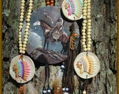 Lone Warrior - Clay Native American Headdress with leather tassel, hand-painted feather and matching charm on wood bead and bling necklace.