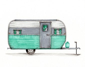 Travel Trailer Print, RV Art, Watercolor Print, Vintage Trailer Painting, Seafoam Green, Kids Room Decor, Retro Art, Giclee Print