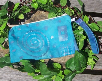 Aqua Batik Wristlet Change Purse - Zen Clutch Bag Coin Purse Makeup Bag Pouch - Serenity Nature - Renn Faire