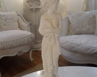 Stunning Vintage French Goddess Alabaster Maiden Statue Paris Apartment Shabby Chic