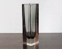 Vintage Murano Glass Facet Block Vase; Smoke Grey Italian Retro Glass Vase Cased with Clear